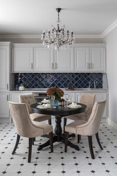 Today we will cover the 2 most contrasting colours to décor your Luxury Dining Room with: white and black. Kitchen Chairs, Kitchen Flooring, Kitchen Dining, Kitchen Decor, Dining Chairs, Dining Table, Home Interior, Interior Design Kitchen, Interior Design Living Room