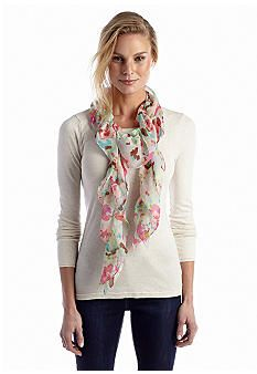 Scarves aren't just for the winter months! Find this spring/summer scarf at Belk.