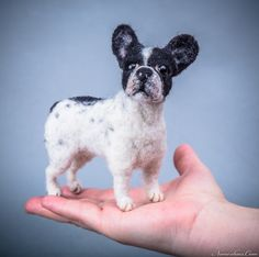 Custom needle felted dog - french bulldog - made to order - custom pet portrait - memorial sculpture by Inkarno on Etsy