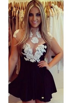 Black Grenadine Lace Patchwork Sleeveless Dress