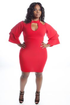 03fd945479955 Red tiered bell sleeve body con dress