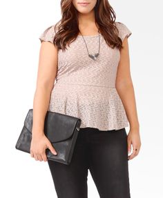 Peplum tops are cute on almost any size, and this color -- super chic. Wavy Matelasse Peplum Top #F21+ #Forever21