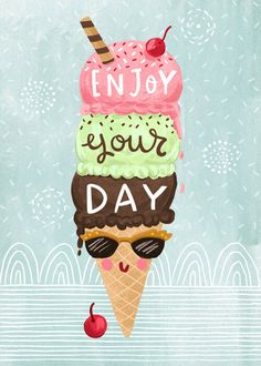Happy Birthday Wishes Images, Birthday Wishes Quotes, Happy Birthday Greetings, Birthday Messages, Today Is Your Birthday, Good Morning Greetings, Lettering, Ice Cream, Scream