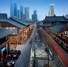 Sino-Ocean Taikoo Li is the living urban heart of future Chengdu. Set in the context of the Buddhist Daci Temple, the low-rise, project provides a unique mix. Classic Architecture, Chinese Architecture, Landscape Architecture, Architecture Design, Shopping Street, Street Mall, Shopping Malls, Commercial Street, Centre Commercial