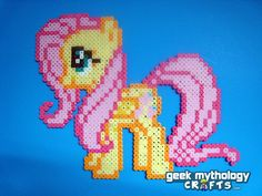 Fluttershy - My Little Pony Friendship is Magic - Perler Bead Sprite. $12.00, via Etsy.