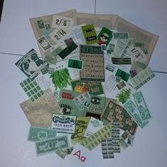 A 50 pieces of green color ephemera Vintage paper by cipmunk