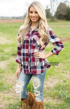 Fool For You Plaid Blouse - The Pink Lily Boutique