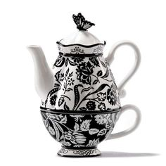 Marie Osmond ~ Chic Black and White Teapot for One