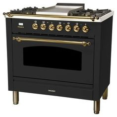 Hallman 36 in. Single Oven Dual Fuel Italian Range True Convection, 5 Burners, Griddle, Chrome Trim in Glossy - The Home Depot Black Gas Stove, Stainless Steel Griddle, Ranger, Single Oven, Drawer Design, Oven Range, Bronze, Dreams, Decorating Kitchen