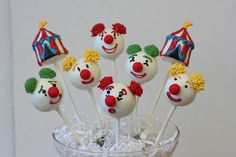 circus cake pops | circus cake pop assortment clowns and circus tents for a circus themed ...