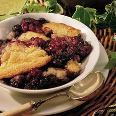 BLACKBERRY COBBLER. Grandma used to send us out with plastic ice cream buckets to pick the blackberries that grew wild. Then she would make cobbler. Not sure what her recipe was but I have fond memories of this dessert.