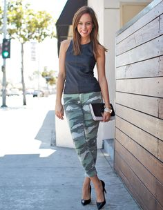 Sydne Style black express minus the leather tank camo jeans cookie johnson army chic trend