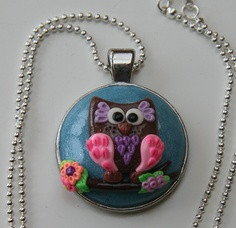 Handmade polymer clay owl necklace