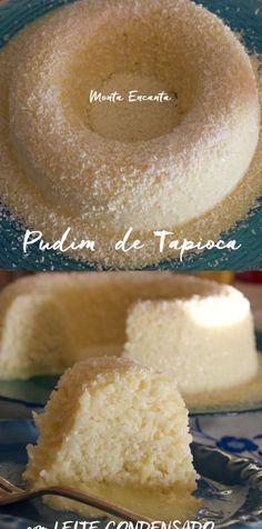 Pudim de Tapioca, se você gosta de tapioca com condensado vai amar esta versão grandona em formato de pudim, com calda de leite condensado e coco ralado.HUM
