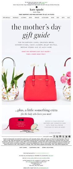 Sent: 4/8/15 | SL: the mother's day gift guide | Mother's Day Gift Guide email example from Kate Spade Email Marketing Design, Online Marketing, Holiday Emails, Email Newsletter Design, Email Design Inspiration, First Mothers Day Gifts, Mom Day, Email Campaign, Craft Items