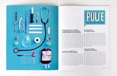 "Redesign of Kansas University Medical Journal ""Kansas Medicine + Science""  All Design and Art Direction by me. Additional illustration and photography credits below.  Created at Design Ranch. Creative Directors Ingred Sidie and Michelle Sonderegger."
