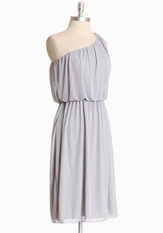 Joffrey One Shoulder Dress In Light Gray    ONLY 2 LEFT!    $32.99
