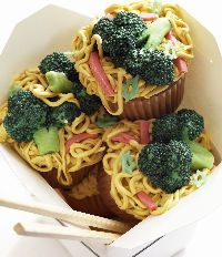 LoMein -- frosting noodles and candy veggies