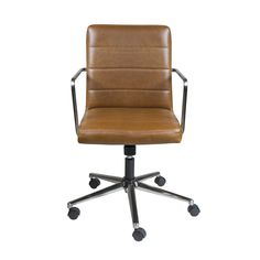 Leander Low Back Office Chair in Brown with Brushed Nickel Base, Euro Style Modern Chairs, Modern Furniture, Bunk Beds With Storage, Conference Chairs, Home Office Decor, Home Decor, Bar Chairs, Office Chairs, Desk Chairs