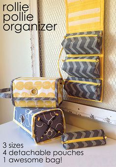 ** THIS LISTING IS FOR A SEWING PATTERN - NOT A FINISHED ITEM ** ***** THIS PATTERN IS ONLY AVAILABLE IN ENGLISH ***** The Rollie Pollie is an all-purpose organizer featuring 4 detachable, zipped pouches that all roll up into a secure little package. Hang it up using your choice of a