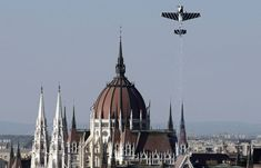 British pilot Steve Jones climbs skyward, above the Danube River and the Hungarian Parliament Building, during a qualifyin run of the Red Bull Air Race World Series in Budapest August 19, 2008. (REUTERS/Karoly Arvai)