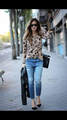 Jeans and leopard print!