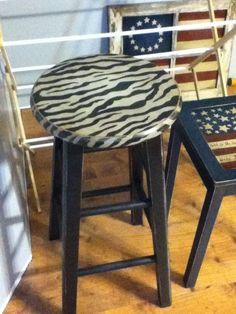 zebra striped bar stool.