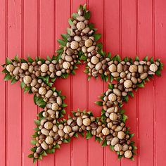 wreath made of unshelled nuts