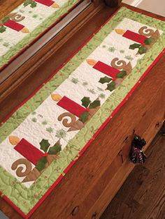 New Quilt Patterns - Christmas Candle Table Runner Pattern Christmas Quilting Projects, Christmas Patchwork, Christmas Quilt Patterns, Christmas Sewing, Christmas Crafts, Christmas Carol, Christmas Applique, Christmas Fabric Panels, Purple Christmas