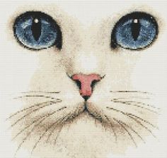 White Cat Blue Eyes Cross Stitch Pattern