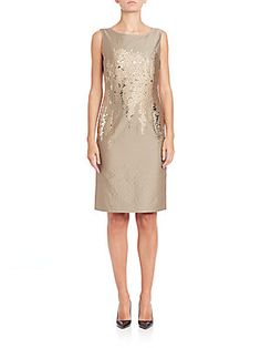 Lafayette 148 New York Faith Floral-Detail Dress - Glided Stone - Size
