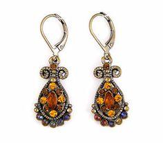 Deco Antique Ethnic Regency Chandalier Drop Earrings w/ Gold Swarovski Crystals