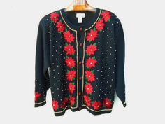 CHRISTMAS Cardigan Sweater Black with Red Poinsettias Gold Beads XXL 18/20  #CoveCreek #Cardigan