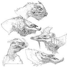 Hraezlyr Head Concept Art - Galeri Seni God of War Curious Creatures, Weird Creatures, Fantasy Creatures, Fantasy Dragon, Dragon Art, Fantasy Art, Creature Concept Art, Creature Design, Monster Sketch