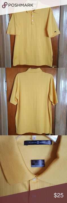 Mens Nike Dry Fit Yellow Golf Shirt Medium Authentic Nike Dry Fit Tiger Woods Golf Shirt, size medium, yellow. Very gently used in very good/excellent condition. I am the original owner and purchased this item new from a fine retail store. This item was closet kept and from a smoke and pet free environment. Packed and ready to ship expeditiously. Nike Shirts Polos