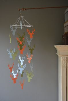 Custom order for Gina McPherson --- Deer / stags head nursery mobile or baby mobile made from orange, moss green and baby blue card stock door SierGoed op Etsy