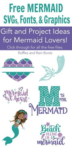 Free mermaid SVG files, graphics, and fonts for Cricut, Silhouette, digital crafts, cards, and more. #freeSVG #mermaid #mermaidlovers #mermaidcrafts #DIYmermaid #Cricut #Silhouette #rufflesandrainboots via @momtoelise