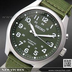 Seiko Kinetic Green Dial 100M Nylon Strap Military Watch SKA725P1, SKA725