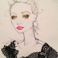 { fun fact: if I weren't a fashion illustrator, I might be a makeup artist. Metallic x lip x lace } #newwork