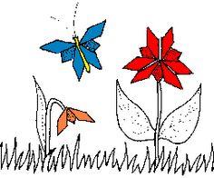 vlinders en bloemen vouwen (origami)