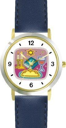 Shabbos or Sabbath Table Symbols No.2 Judaica Jewish Theme - WATCHBUDDY® DELUXE TWO-TONE THEME WATCH - Arabic Numbers - Blue Leather Strap-Children's Size-Small ( Boy's Size & Girl's Size ) WatchBuddy. $49.95