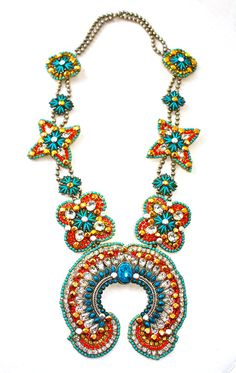Squash Blossom Necklace with Vintage and Swarovski Detail