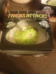 Alien monster cupcakes in box. Too cute.