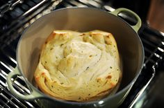 notes/alterations: 1/2 C. melted butter, let rise second time in dutch oven, 435 for 30 then 10.