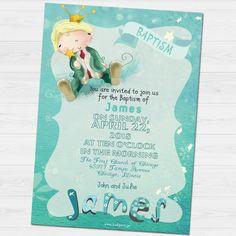 James Baptism invitation by babyartshop on Etsy Baptism Invitations, You Are Invited, Thank You Cards, Clip Art, Messages, Digital, Etsy, Appreciation Cards