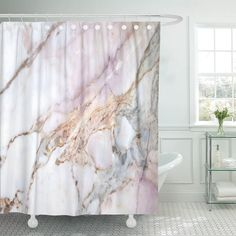 Marble Room, White Marble Bathrooms, Marble House, Marble Showers, Grey Bathrooms, Rose Gold Shower Curtain, Black Shower Curtains, Bathroom Shower Curtains, Rose Gold Marble