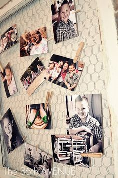 Chicken wire & clothespin picture collages