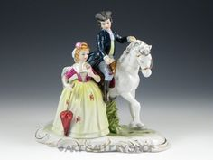 Vintage KPM German Victorian  Figurine MAN ON HORSE WOMAN LADY UMBRELLA COUPLE