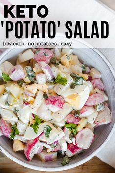 Keto Potato Salad - This keto side dish recipe doesn't use potatoes, it uses radishes instead! Once roasted radishes taste exactly like potatoes. Mix together with hard boiled egg, onion, capers, pickle - this recipe is incredibly delicious and EASY! Side Dish Recipes, Low Carb Recipes, Cooking Recipes, Healthy Recipes, Keto Mashed Cauliflower, Boiled Egg, Hard Boiled, Radish Salad, Egg Salad