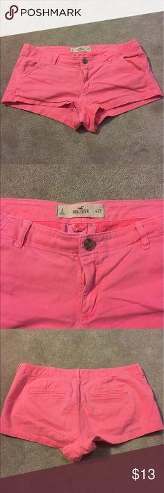 Hollister shorts Coral shorts! Size 5. Khaki material Hollister Shorts